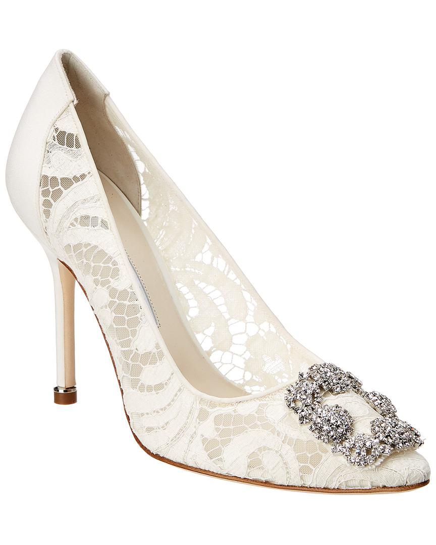 14a914622be Lyst - Manolo Blahnik Hangisi 105 Lace Pump in White