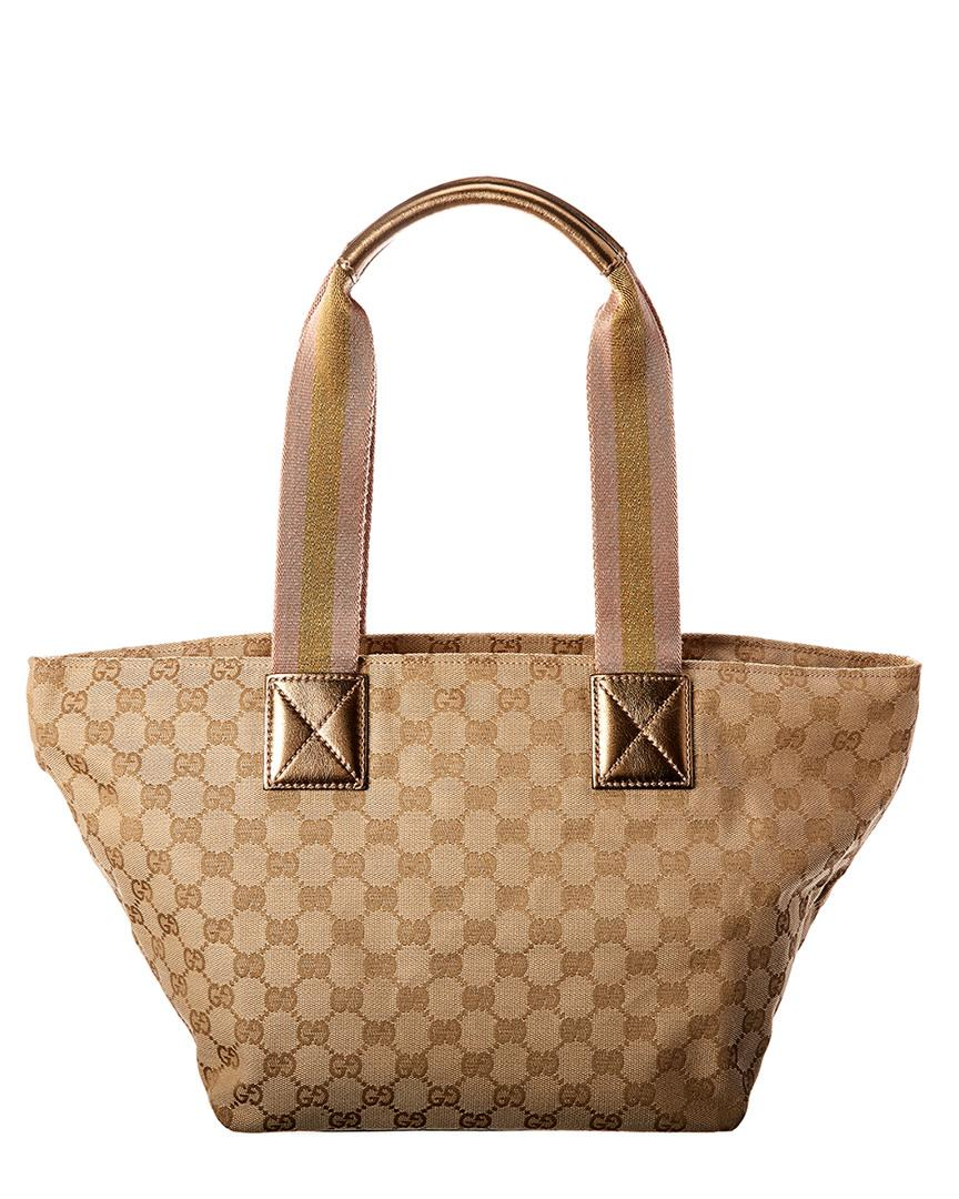 702a24552d97f8 Gucci. Women's Gold GG Canvas & Leather Tote