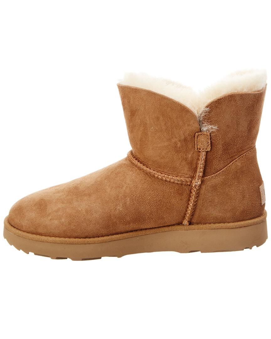 UGG Suede Women's Classic Mini Cuff Water-resistant Twinface Sheepskin Boot in Brown