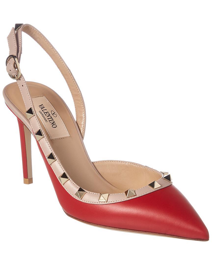 26a3b6dd1a4 Lyst - Valentino Rockstud Leather Slingback Pump in Red