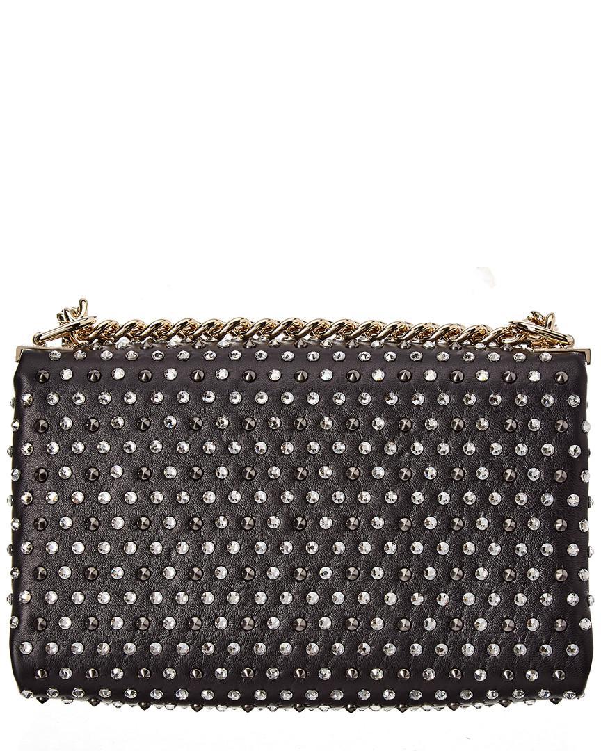 85c7216f2d04 Versace Embellished Leather Chain Medusa Shoulder Bag in Black - Save  29.956896551724142% - Lyst
