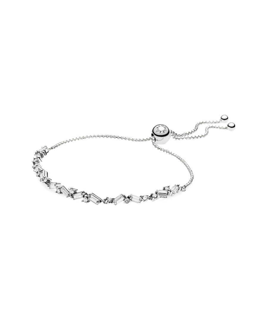 Pandora Silver Sparkling Cz Ice Cube Slider Tennis Bracelet In Metallic Lyst