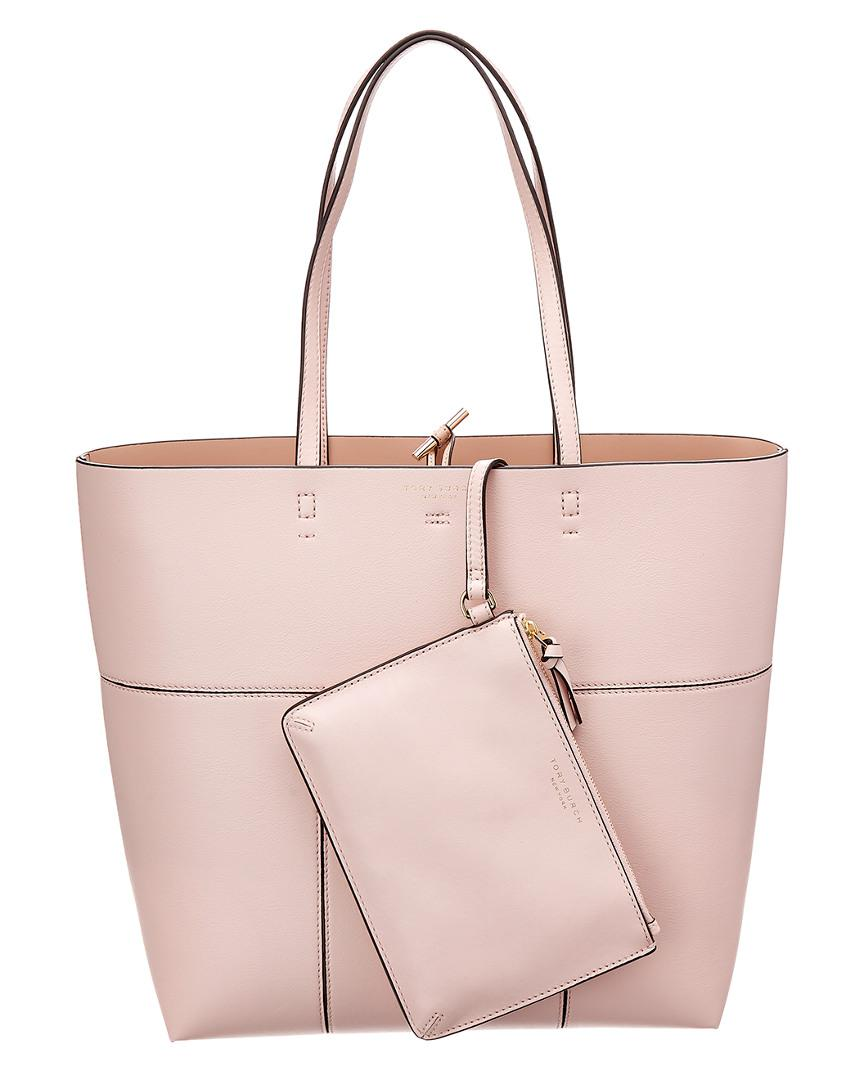 be0c75aa358d Tory Burch Block-t Leather Tote in Pink - Lyst