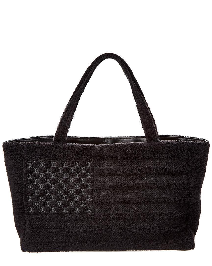 Lyst - Chanel Limited Edition Black Terry Cloth Beach Tote   Towel ... 88b947513bb1f