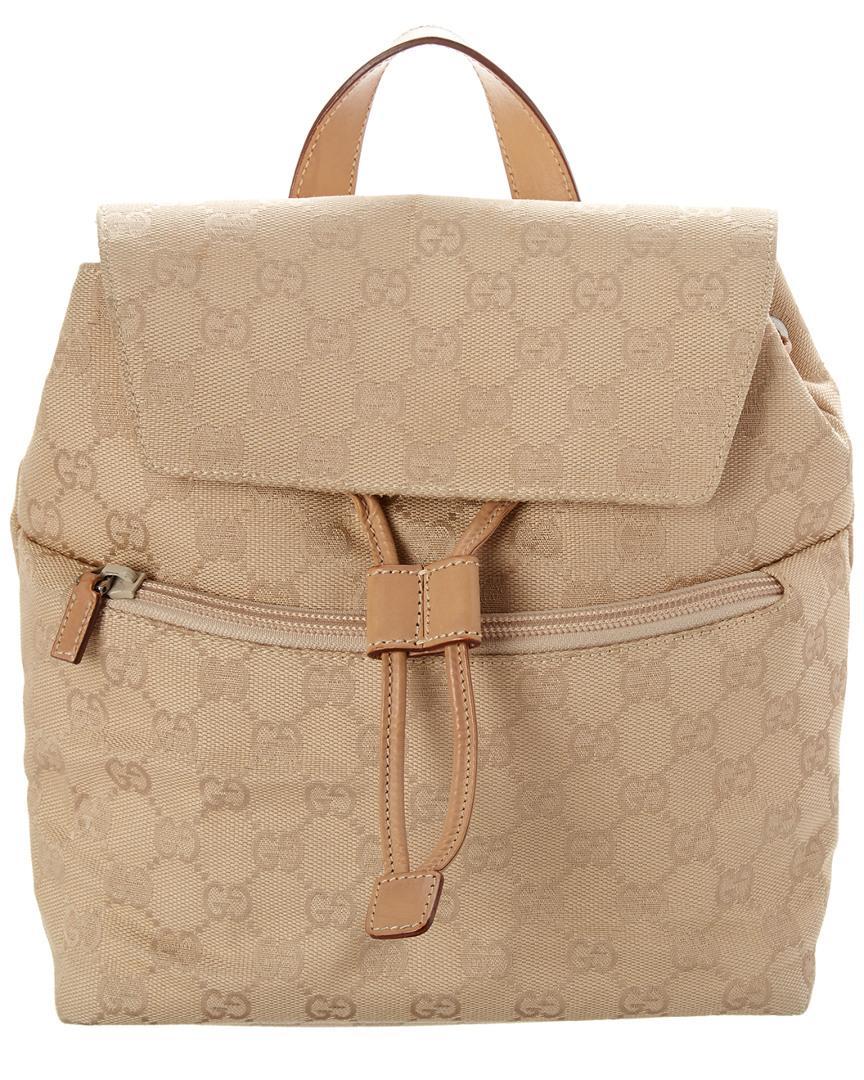 Women\u0027s Natural Beige GG Canvas \u0026 Leather Backpack