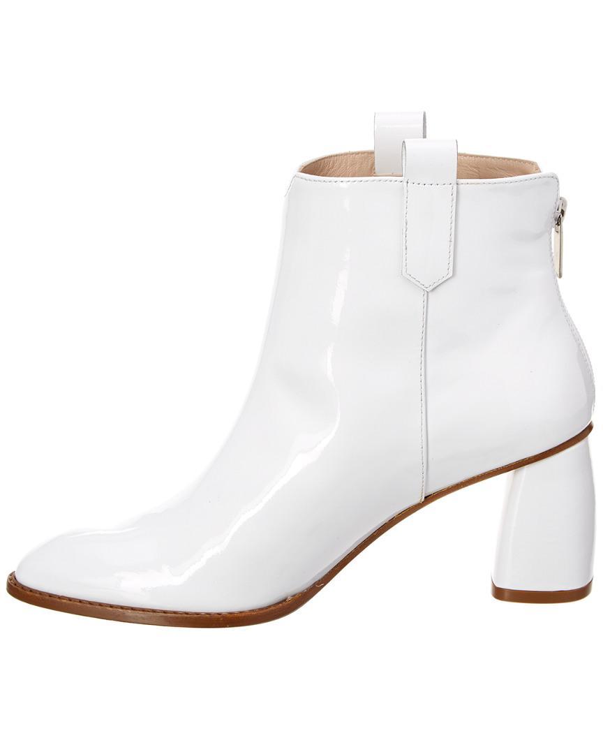 Stuart Weitzman Leather Novako Patent Bootie in White