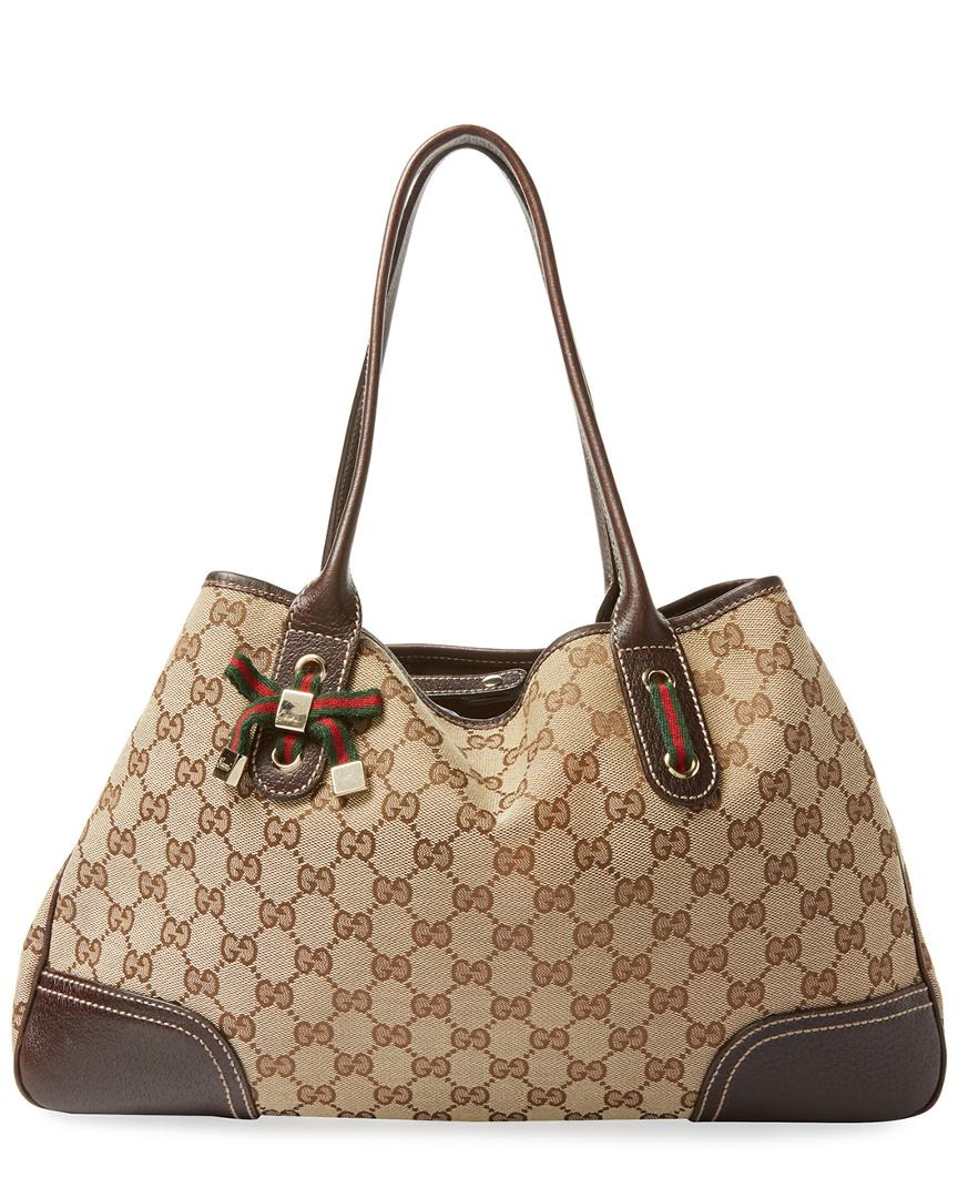 f0b46670df66ab Lyst - Gucci Brown GG Canvas & Leather Princy Tote in Brown