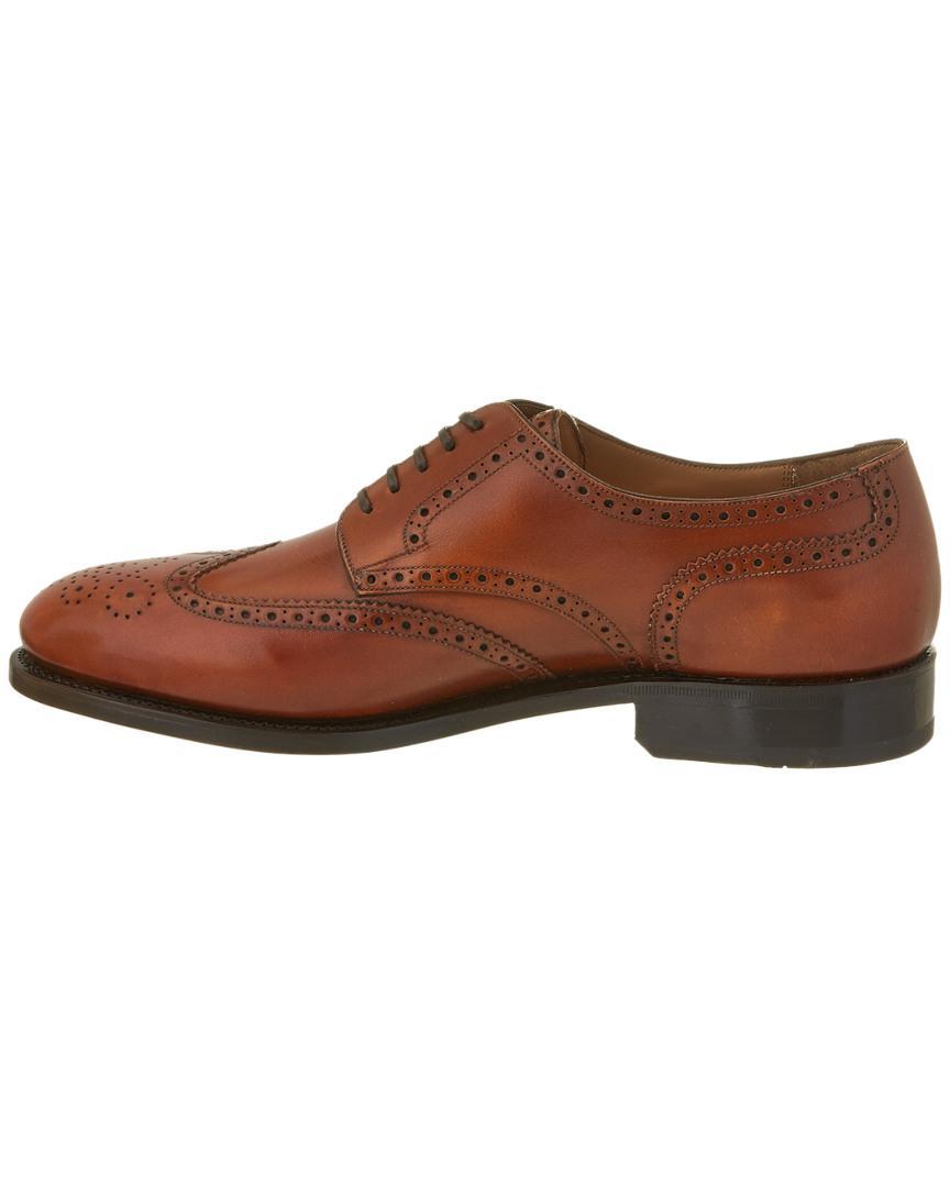 Ferragamo Nilson Brogue Leather Oxford in Brown for Men