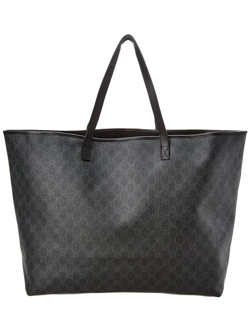 d649071517cc Gucci Black GG Supreme Canvas & Leather Tote in Black - Lyst