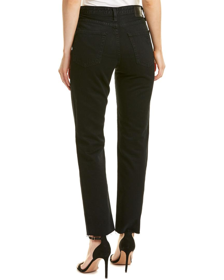 AG Jeans Cotton Phoebe Rebellion High-rise Tapered Leg in Black