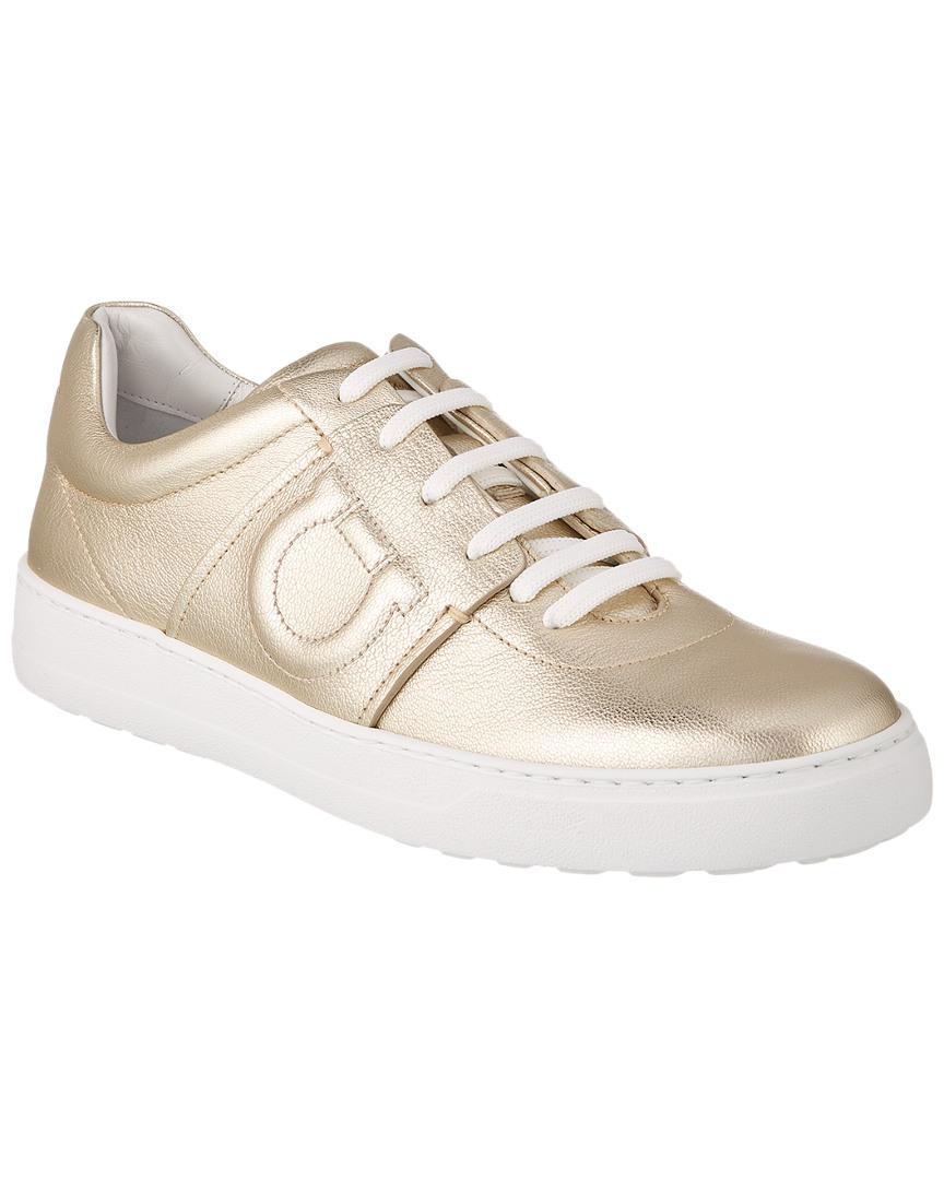 11a9173d88 Lyst - Ferragamo Gancini Leather Sneaker in Metallic