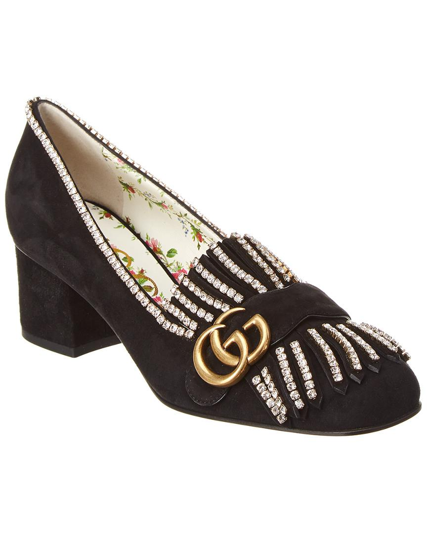 58200a49861 Lyst - Gucci GG Marmont Suede Pump in Black