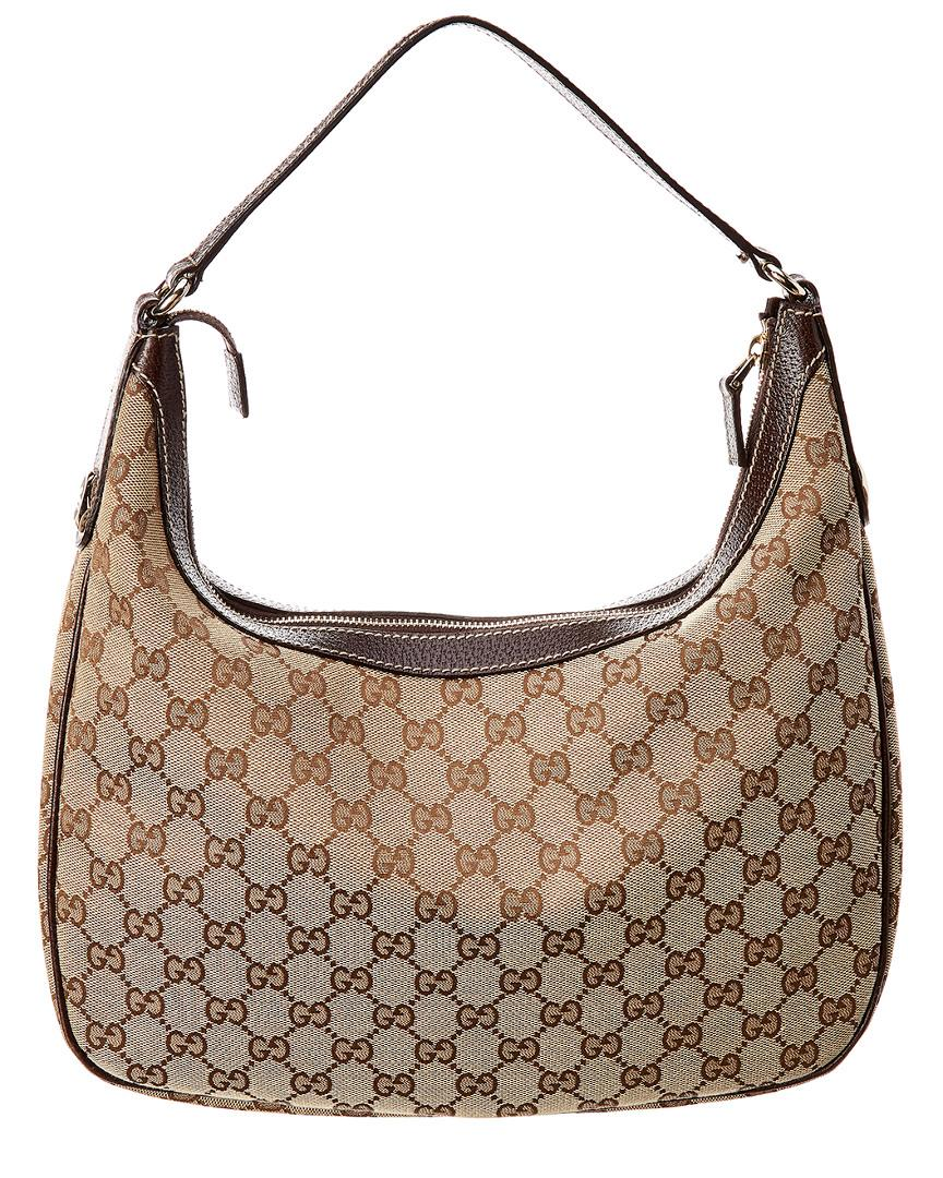 f77fec3bd2b Lyst - Gucci GG Canvas   Brown Leather Shoulder Bag in Brown - Save  16.66666666666667%