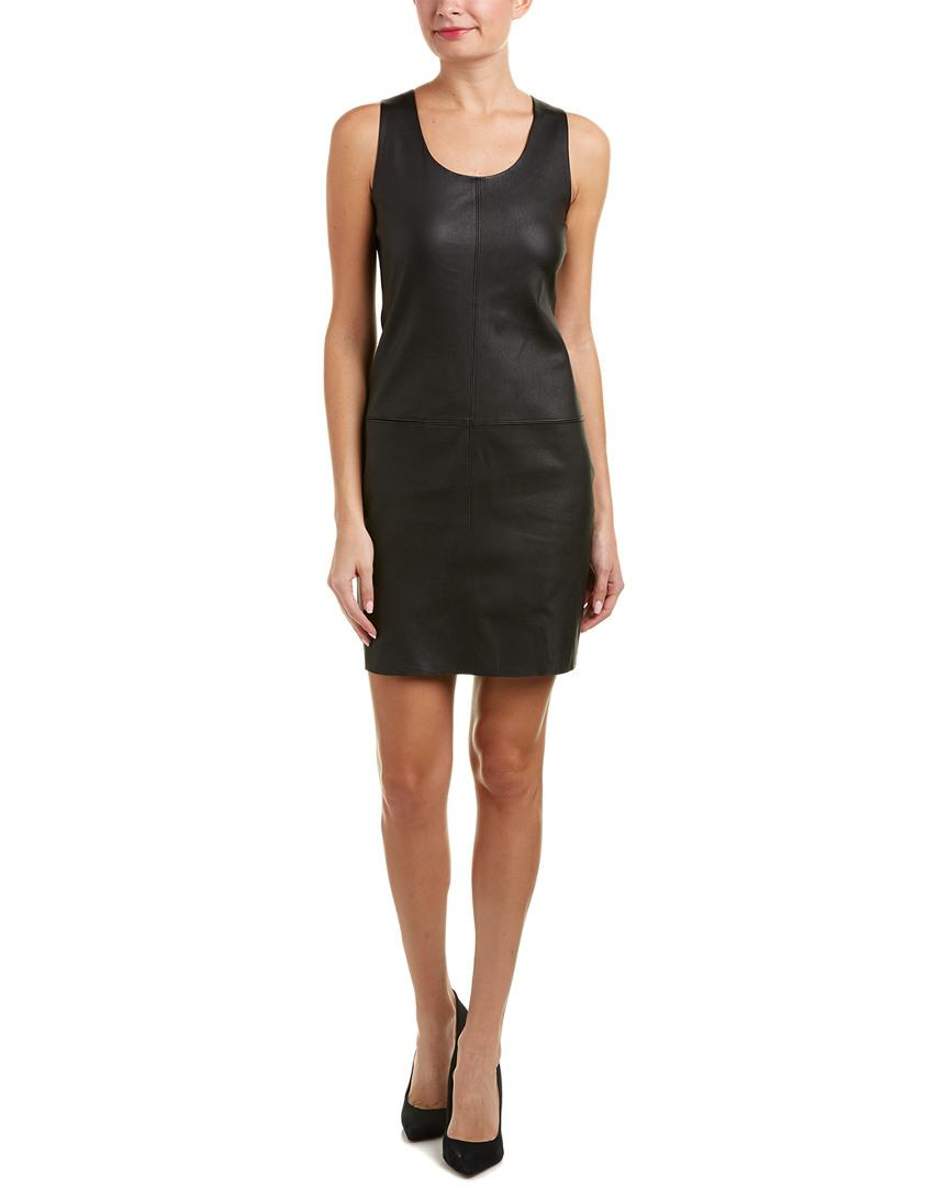 d42426e99dd58 Lyst - Helmut Lang Matte Leather Shift Dress in Black