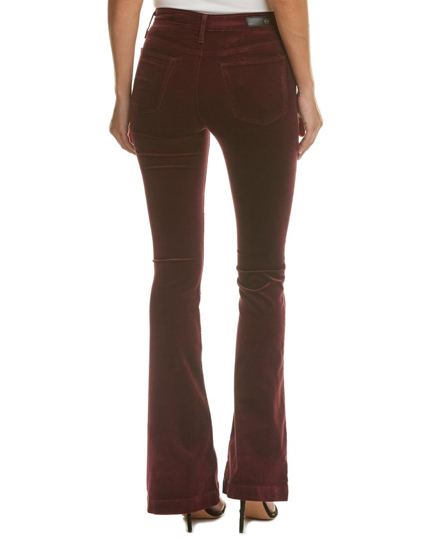 AG Jeans Janis Wine Velvet High-rise Flare Leg in Red