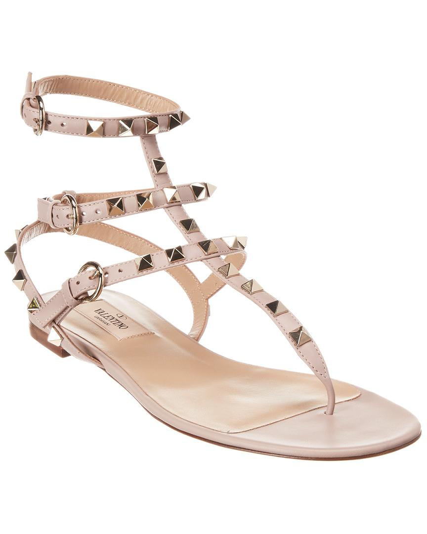 d3c04330dc3 Lyst - Valentino Rockstud Leather Thong Sandal in Pink