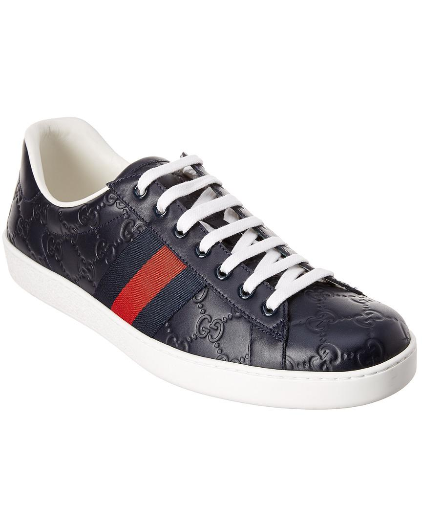 5c83a87dc Gucci Ace Signature Leather Sneaker in Blue for Men - Lyst