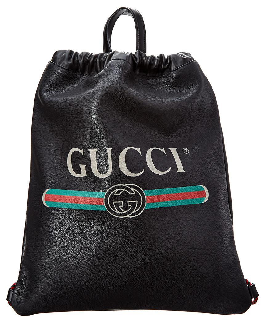3d009183b4aa Gucci - Black Logo Print Leather Drawstring Backpack for Men - Lyst. View  fullscreen