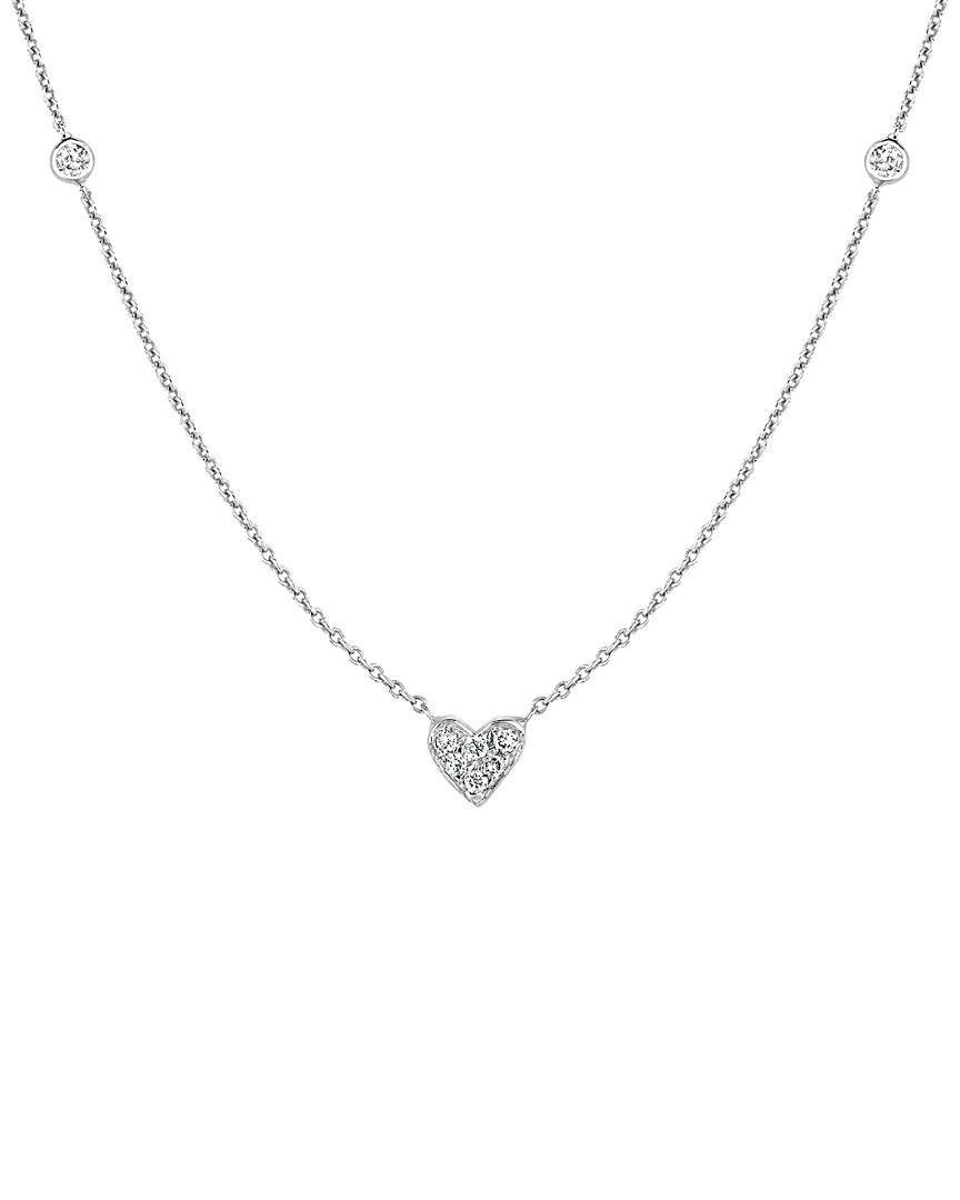 Ariana Rabbani 14k White Gold Diamond Heart Necklace in Metallic