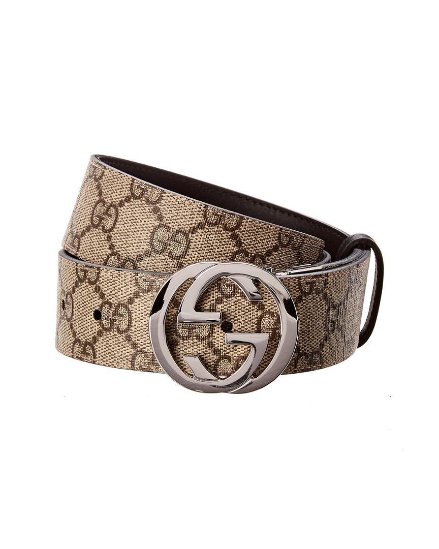 97497f301 Gucci Reversible GG Supreme Canvas & Leather Belt in Black for Men ...