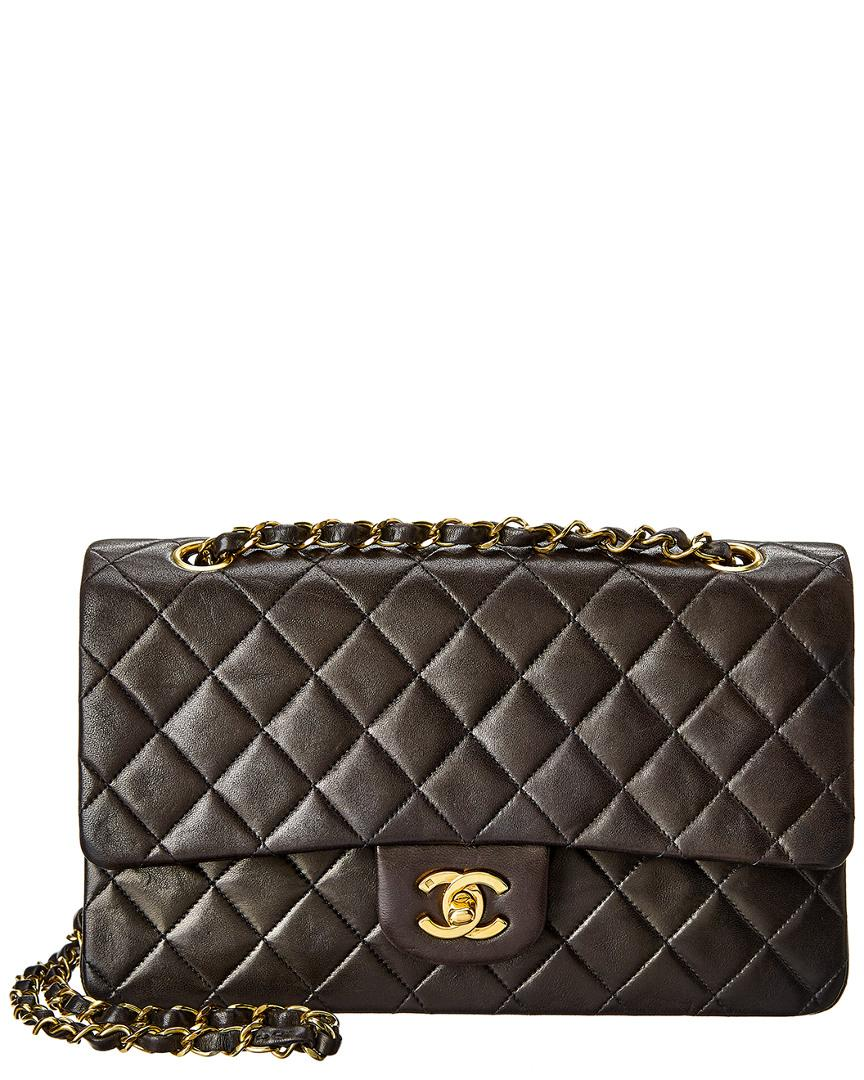 902677d5c43c Chanel Black Quilted Lambskin Leather Medium Flap Bag in Black - Lyst