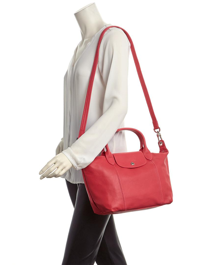 Le Pliage Cuir Small Leather Top Handle Tote
