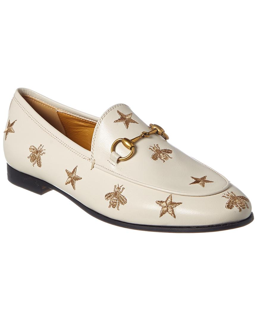 5eaaca58a9 Women's White Jordaan Bees & Stars Embroidered Leather Loafer