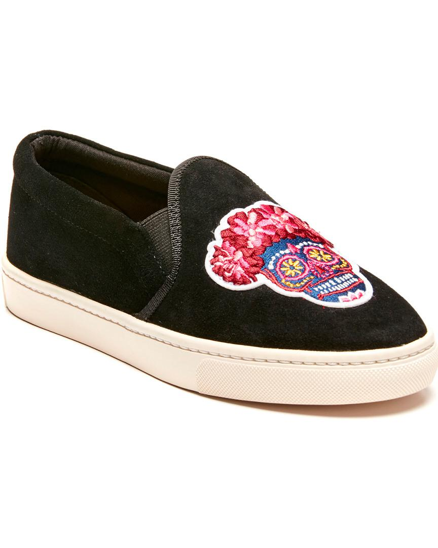 Soludos Leather Day Of The Dead Sneaker in Black