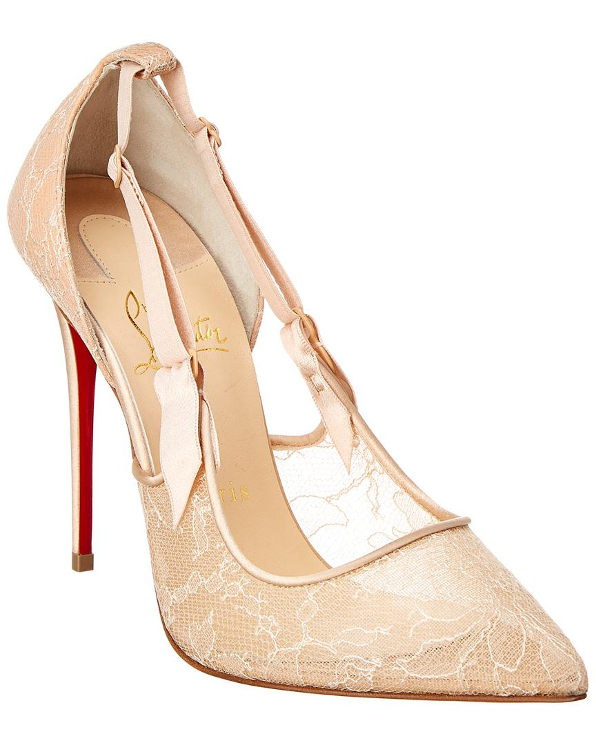 5f698d97b19 Lyst - Christian Louboutin Hot Jeanbi 100 Dentelle Pump in Natural