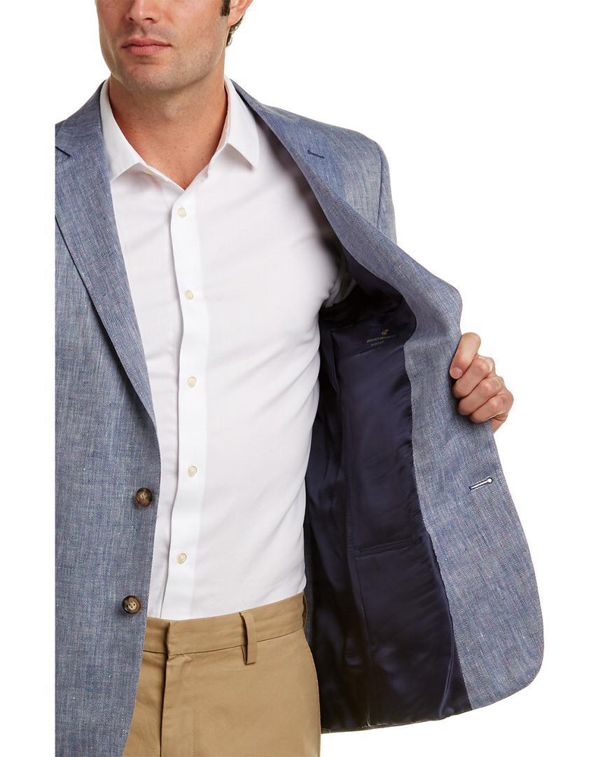 Brooks Brothers Regent Fit Linen-blend Jacket in Blue for Men