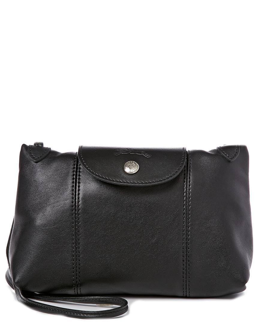 9151cf1f0 Longchamp Le Pliage Cuir Leather Crossbody in Black - Save 21% - Lyst