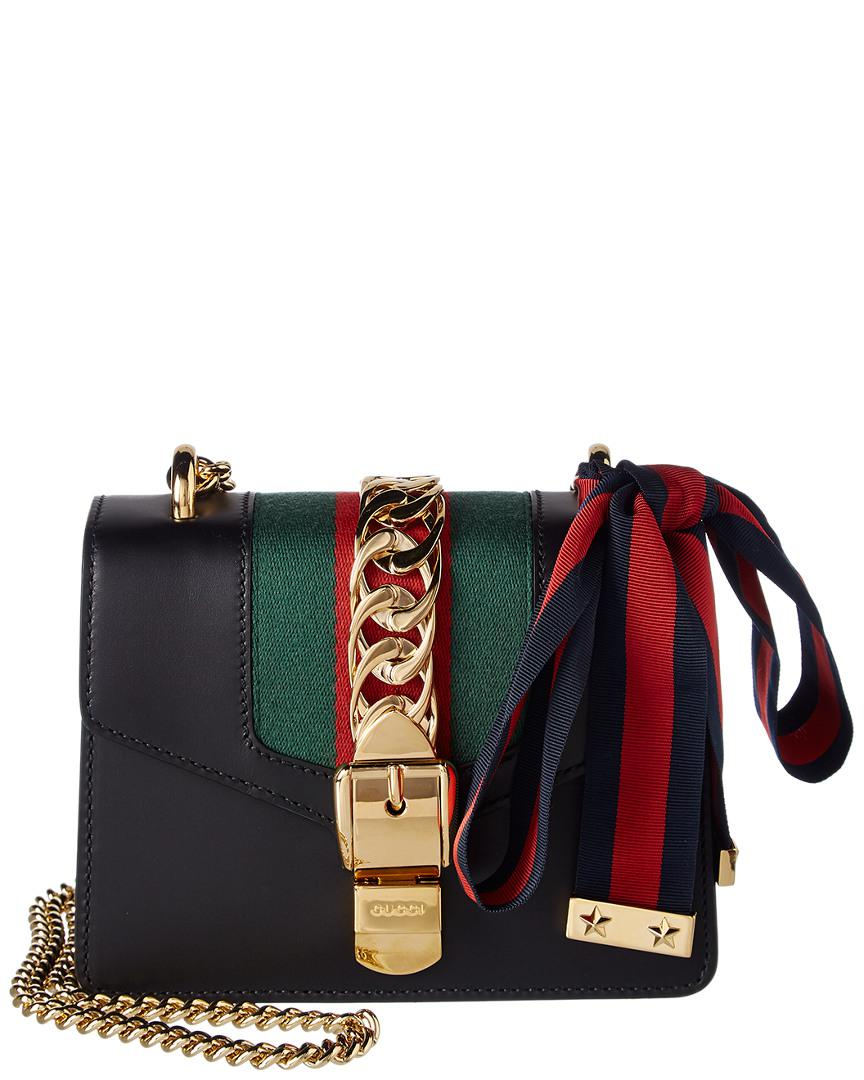 79d4642e3cd Lyst - Gucci Mini Sylvie Leather Satchel in Black