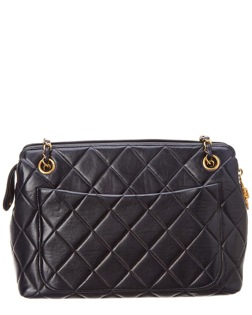 535681b25bc Chanel Navy Quilted Lambskin Leather Shoulder Bag in Blue - Lyst