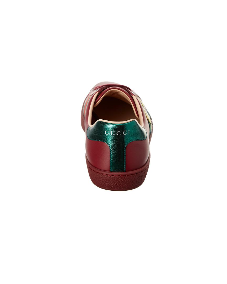 683b710f3a7 Lyst - Gucci Ace Butterfly Embroidered Leather Sneaker in Red for Men