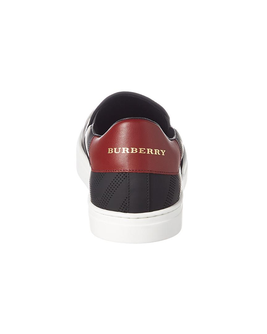 Burberry Copford Perforated Check Leather Slip-on Trainer in Black for Men