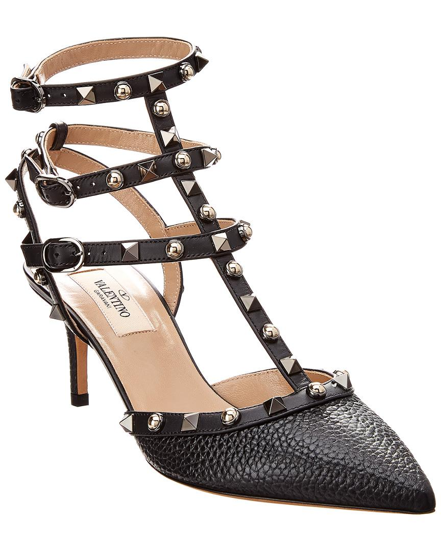 9dd725d1ef7a Valentino - Black Cage Rockstud 65 Rolling Leather Ankle Strap Pump - Lyst.  View fullscreen