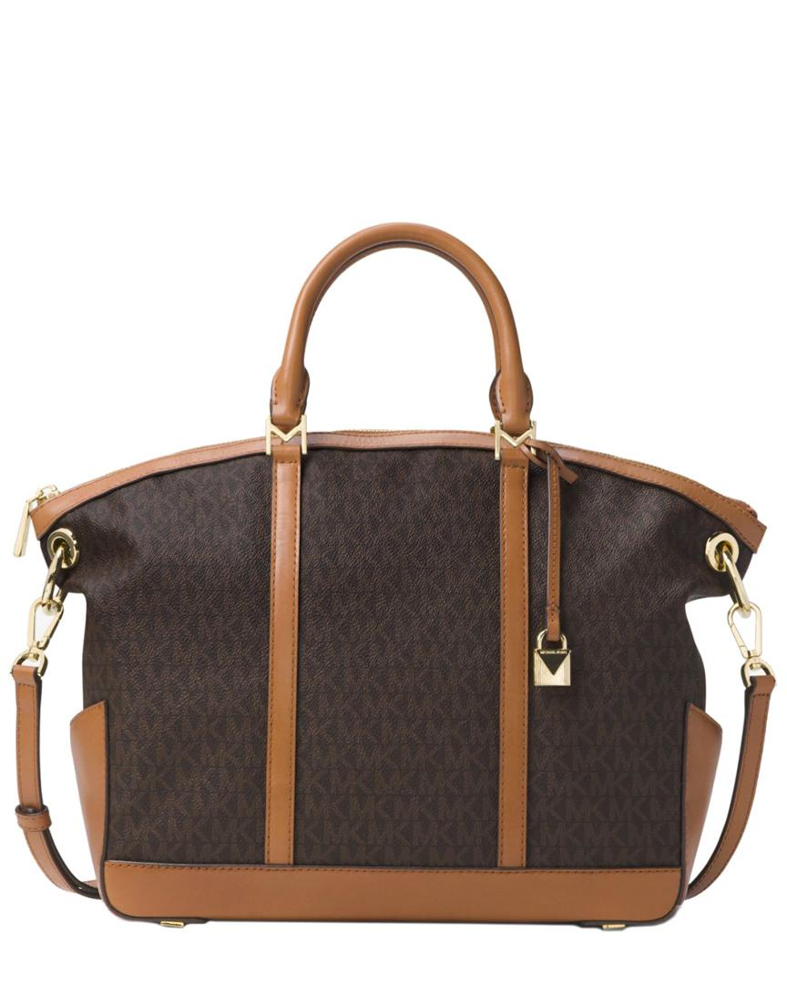 5ba0ccbb63fe Lyst - MICHAEL Michael Kors Beckett Large Logo Satchel in Brown