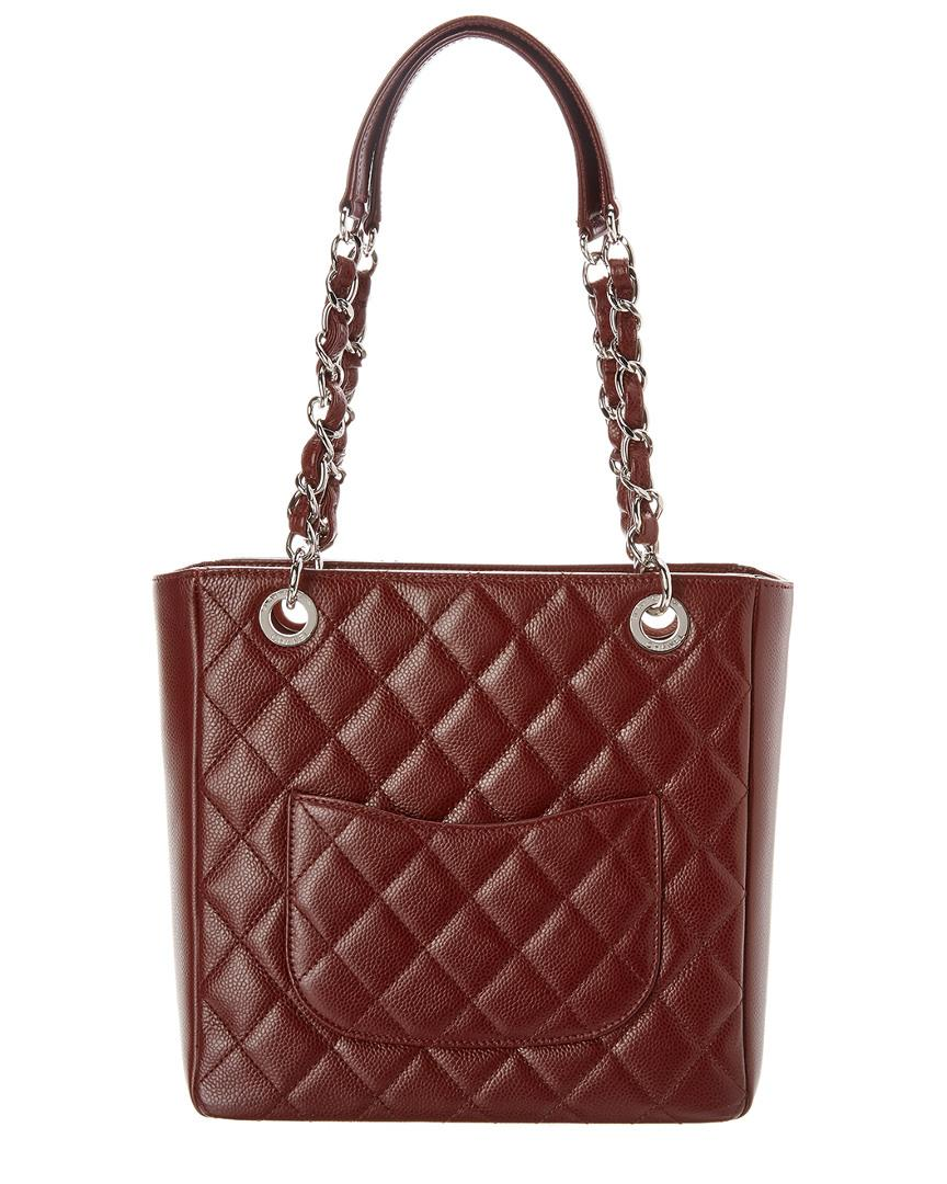8ab871faff74 Lyst - Chanel Burgundy Quilted Caviar Leather Petite Shopping Tote