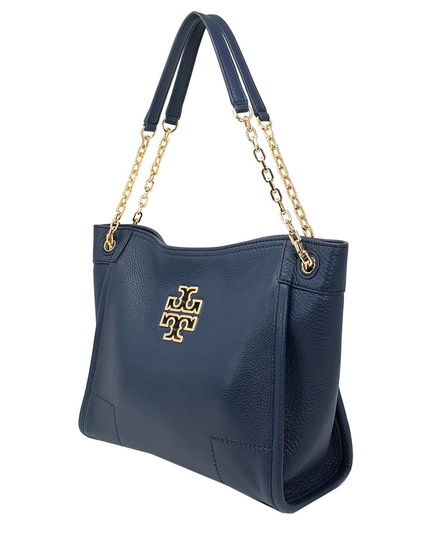 95740f4fbf Lyst - Tory Burch Britten Small Slouchy Leather Tote in Blue