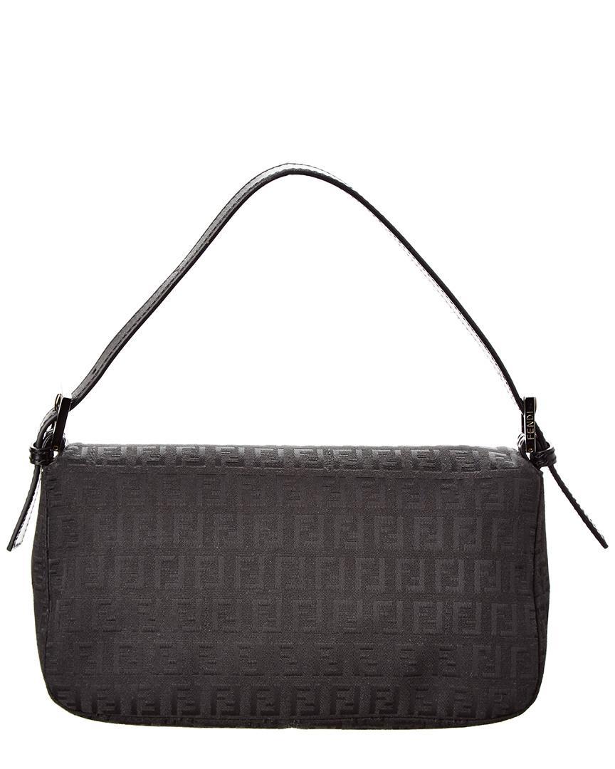 Lyst - Fendi Black Zucchino Canvas Shoulder Bag in Black 4246e918a9267