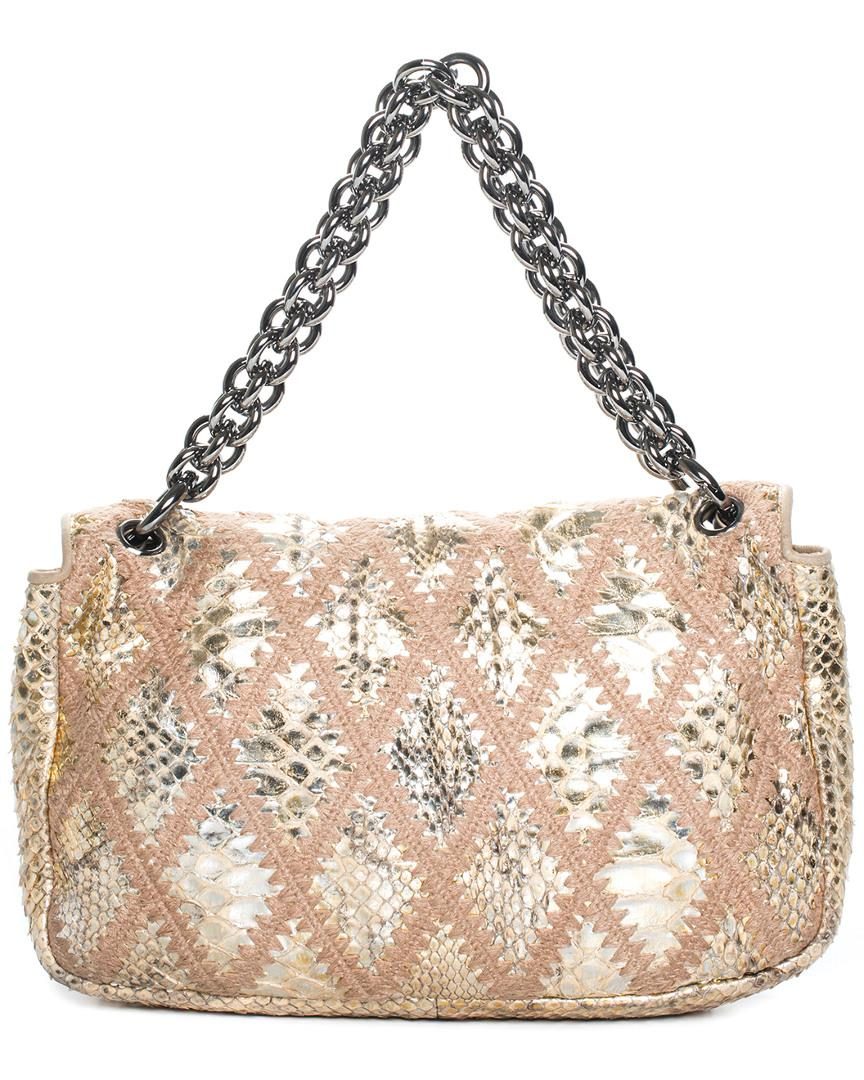 c463a4c150b3 Lyst - Chanel Beige Python Leather Crochet Flap Bag in Natural
