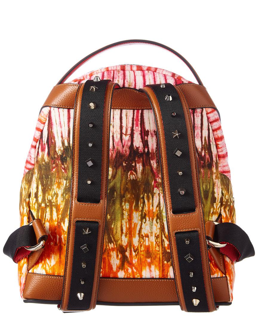 Christian Louboutin Canvas Backloubi Small Pompadour Backpack in Brown
