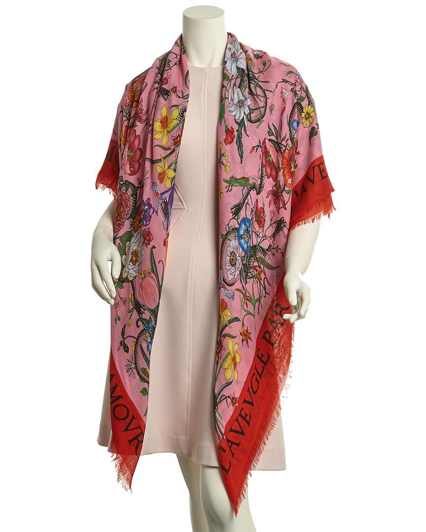 551e038d352 Gucci Flora Snake Print Wool   Silk-blend Shawl in Red - Save  16.113744075829388% - Lyst