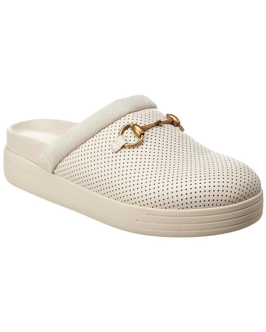 d8bab4db53f7 Lyst - Gucci Horsebit Perforated Slippers in White for Men - Save 19%