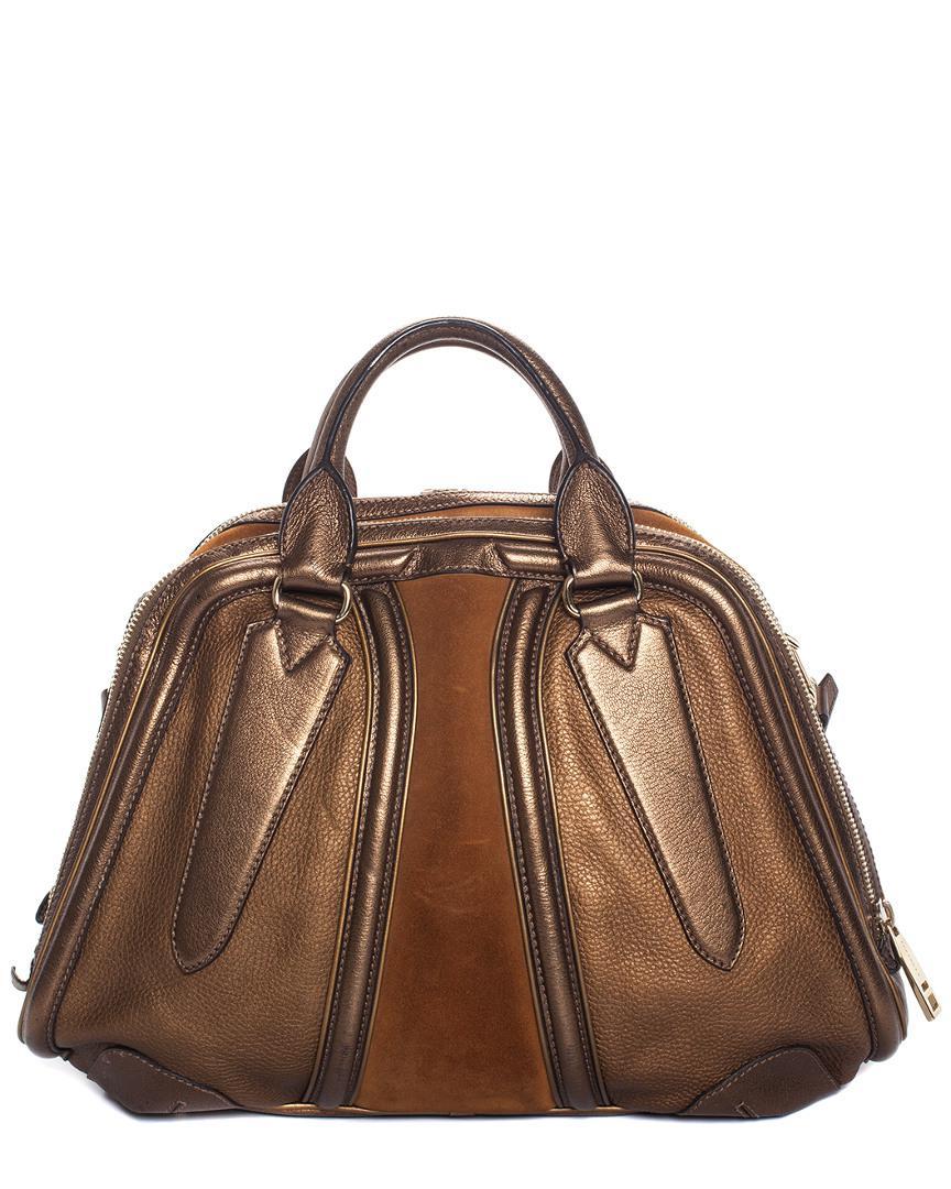 4d80de81b549 Lyst - Burberry Bronze Metallic Leather Suede Large Convertible ...