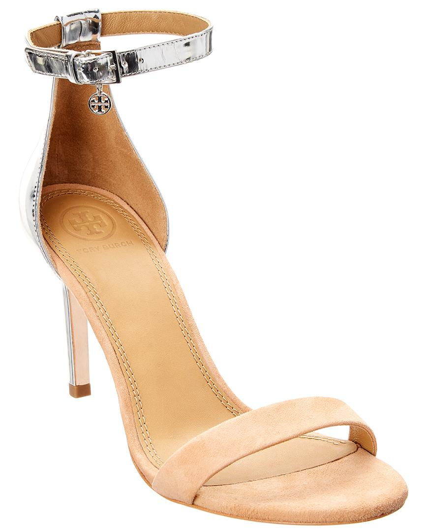 06b0916ab05 Lyst - Tory Burch Ellie Patent   Suede Sandal in Natural