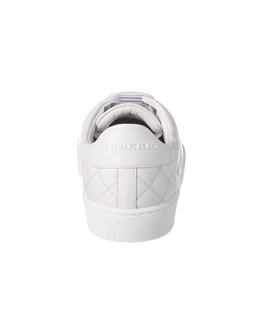 Burberry Check Quilted Leather Sneaker in White