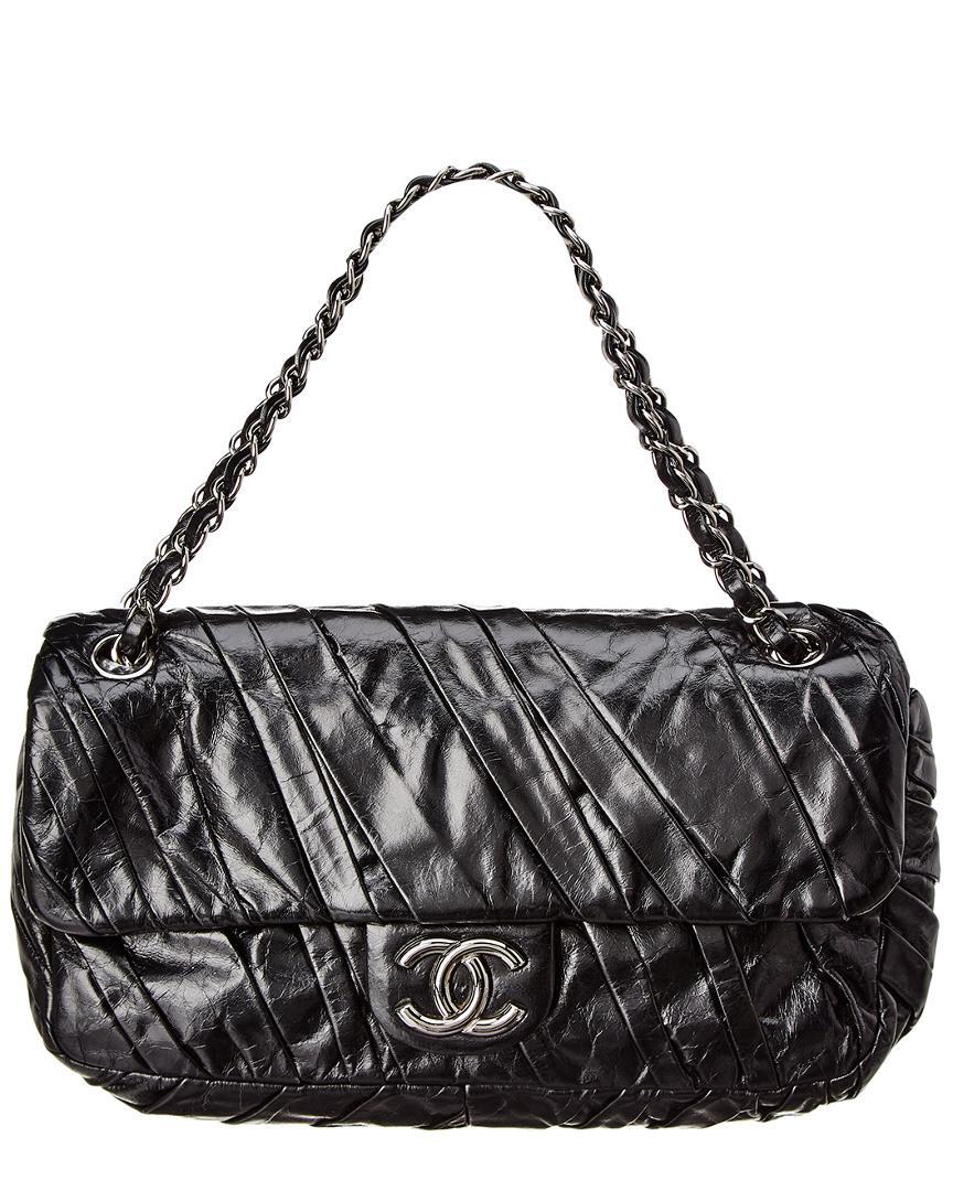 0497c7ae90a4 Chanel Black Lambskin Leather Medium Twisted Flap Bag in Black - Lyst