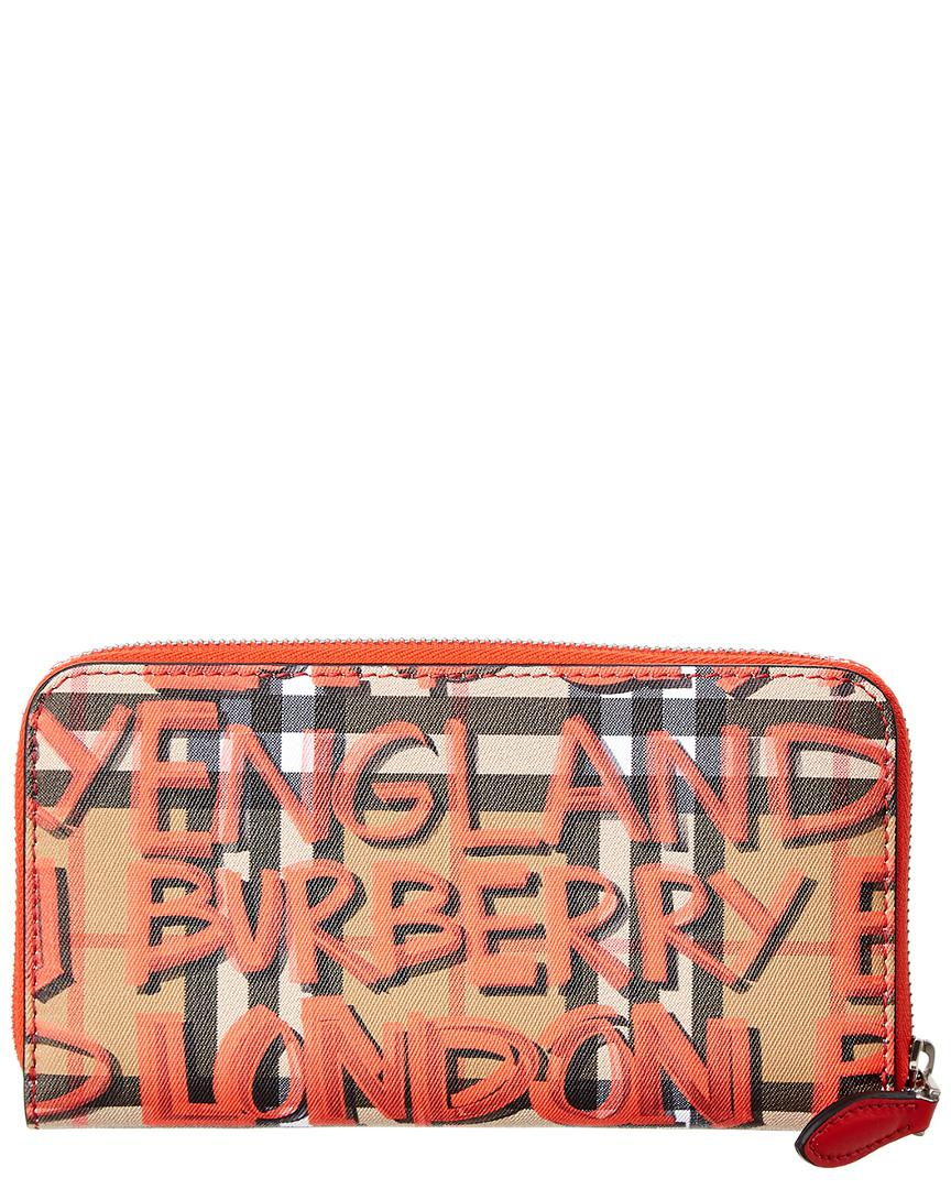 74884a5bf5a Lyst - Burberry Graffiti Print Check Leather Zip Around Wallet in ...
