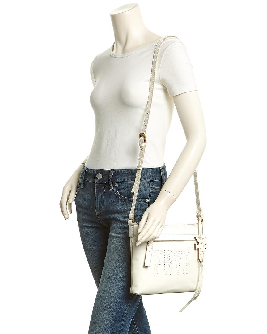 Frye Carson Logo Perforated Crossbody in White